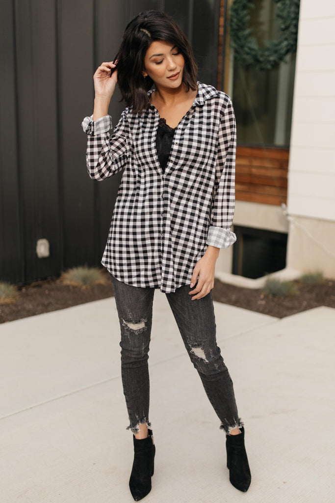 Gingham Girl Button Down Top - Everest & Co.