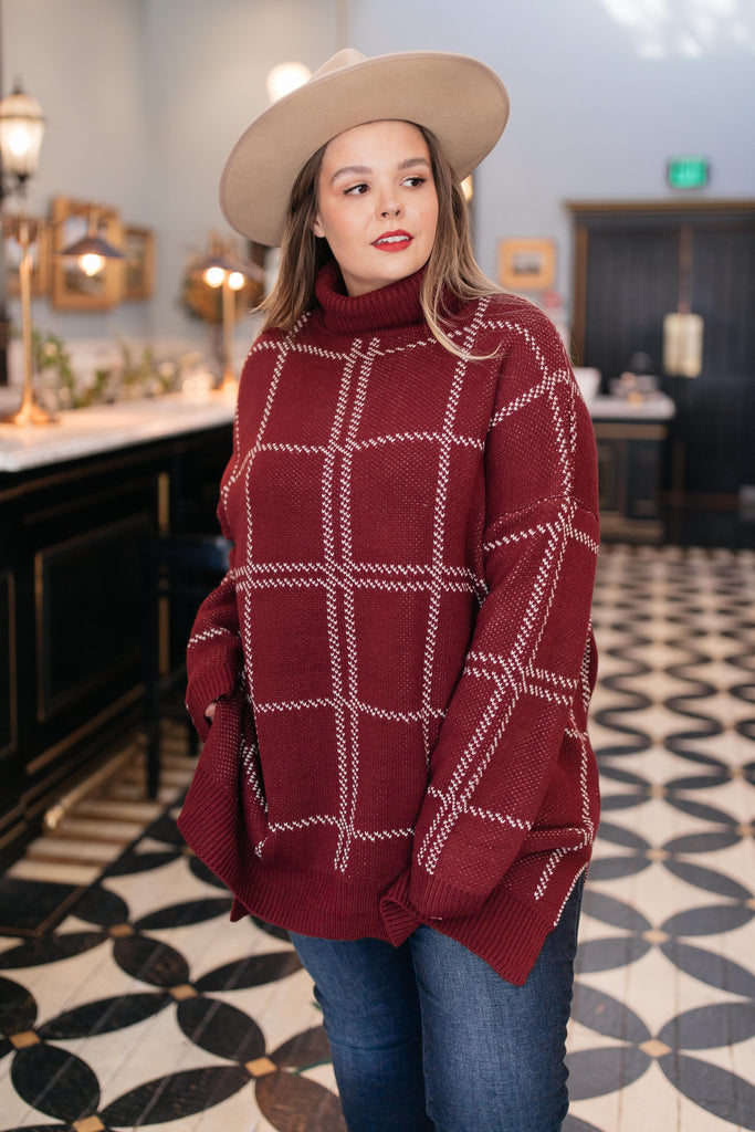 Grand Grid Print Sweater in Maroon - Everest & Co.