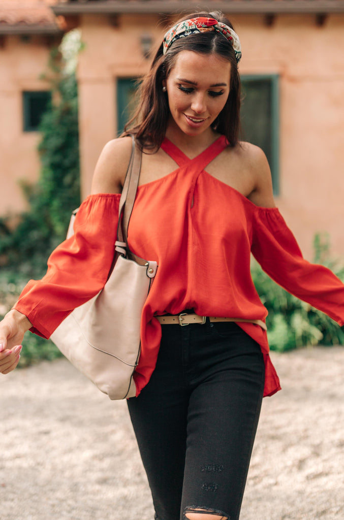 Hot Then Cold Blouse In Pumpkin - Everest & Co.