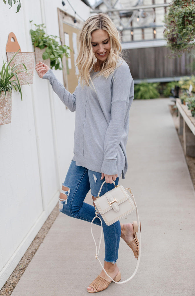 In Line Sweater in Heather Gray - Everest & Co.