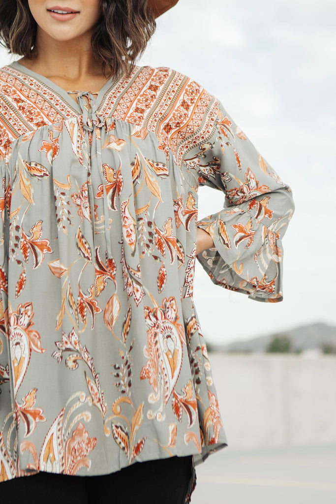 Meadow Sage Floral Peasant Blouse - Everest & Co.