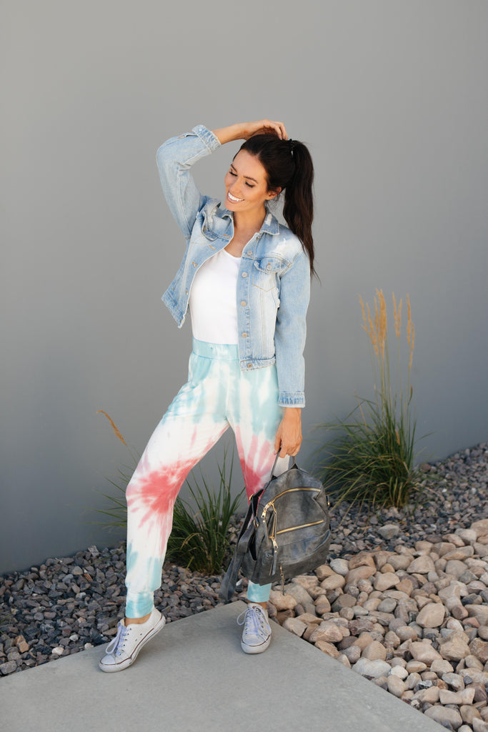 Pink Sunburst Tie Dye Joggers - Everest & Co.