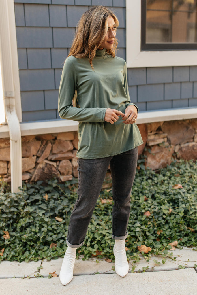 Plain Jane Turtle Neck Top in Cargo - Everest & Co.
