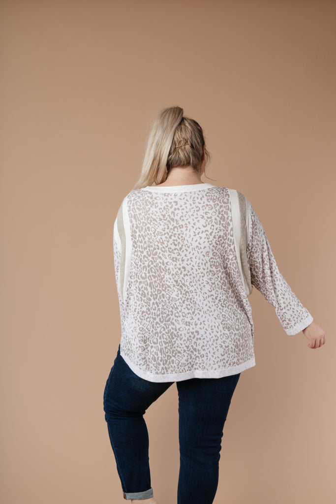 Racing Stripes Animal Print Top In Taupe - Everest & Co.