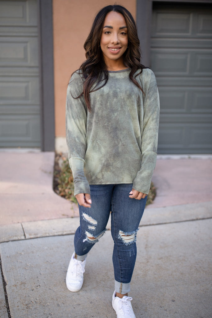 Slouchy Sleeve Top in Olive - Everest & Co.