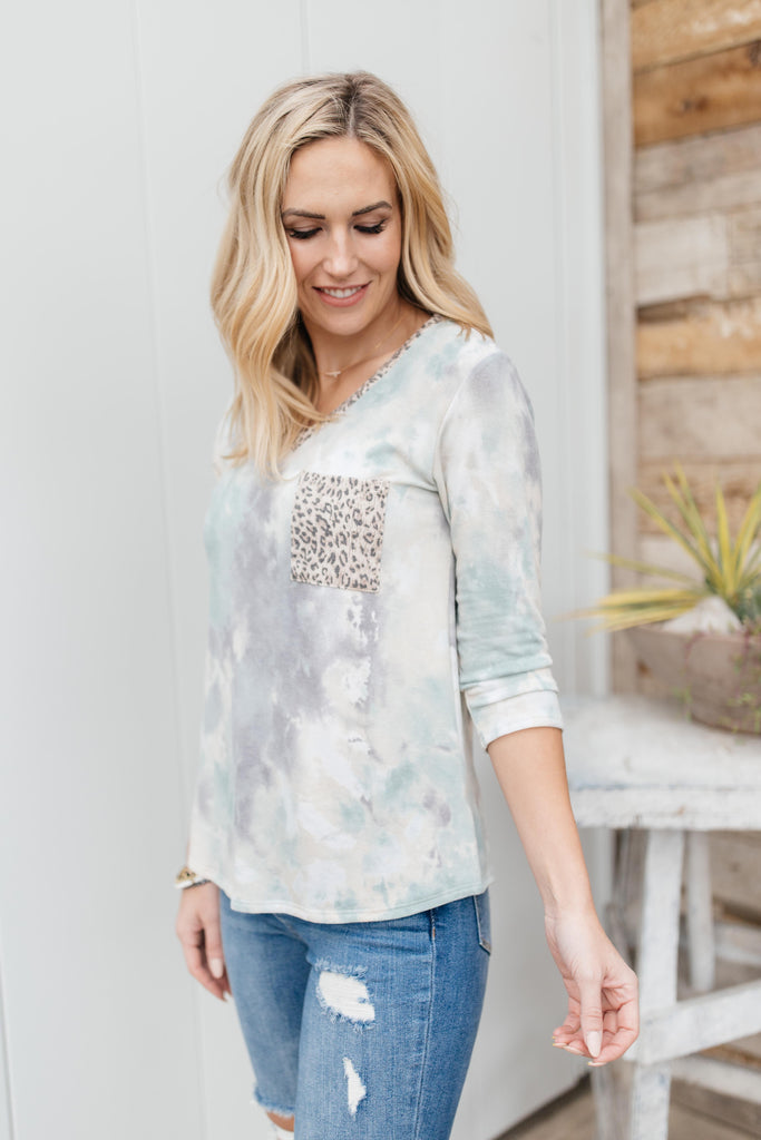 Spotted In The Clouds Top in Sage and Cream - Everest & Co.