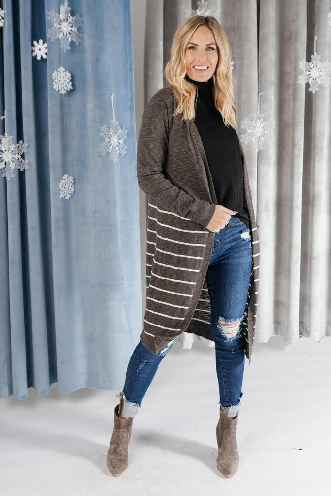 Stripes And Charcoal Cardigan - Everest & Co.