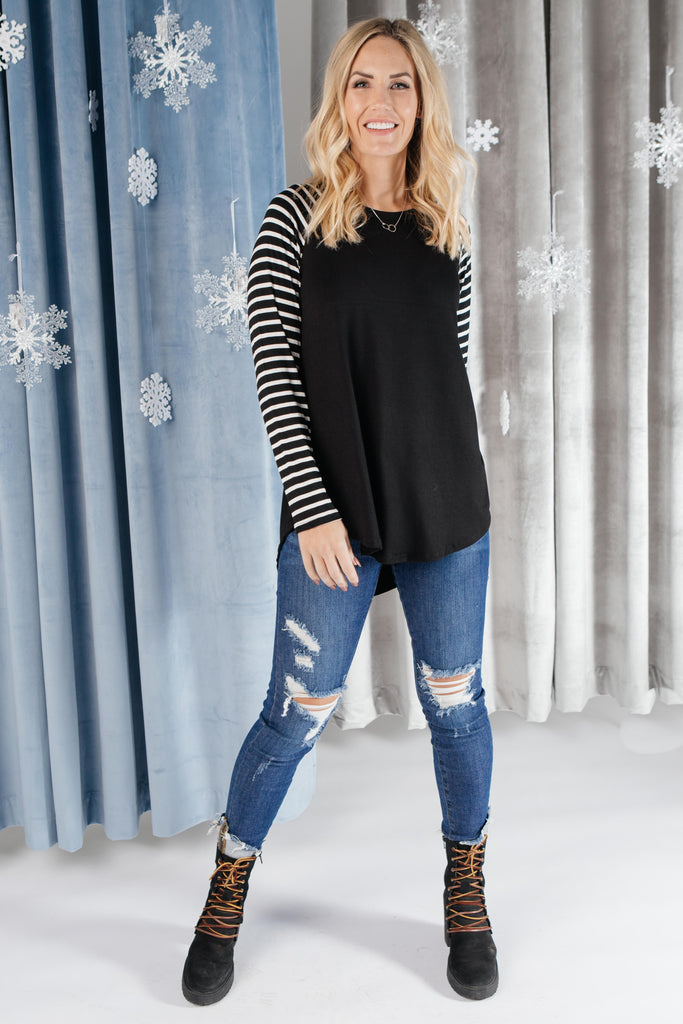 The Striped Sleeves Top - Everest & Co.