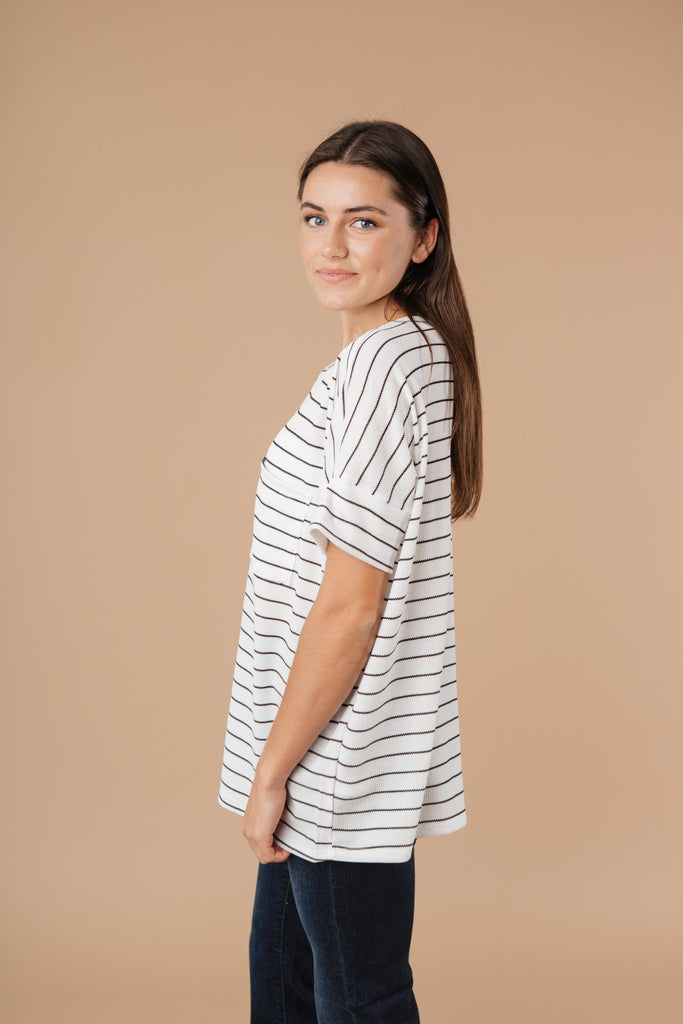 Tow The Line Striped Tee In Off White - Everest & Co.