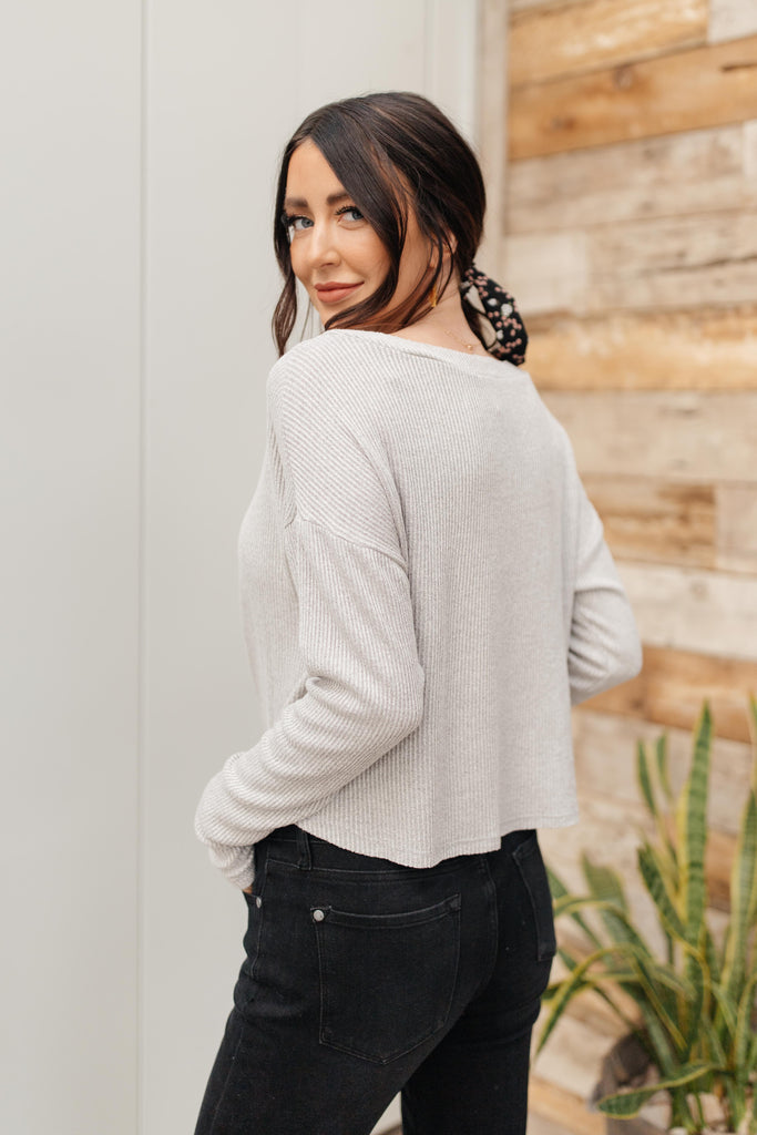 Waffle Love Top in Gray - Everest & Co.