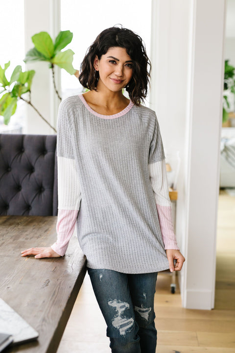 All Talk Ribbed Colorblock Top In Gray - Everest & Co.