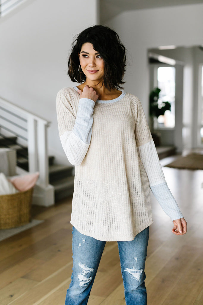 All Talk Ribbed Colorblock Top In Taupe - Everest & Co.