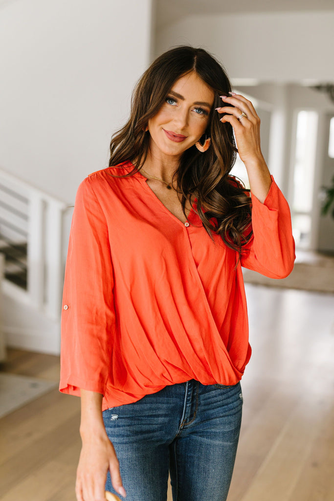 Coral Surplice Blouse - Everest & Co.