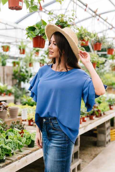 Ruth Ruffled Sleeve Top In Royal - Everest & Co.