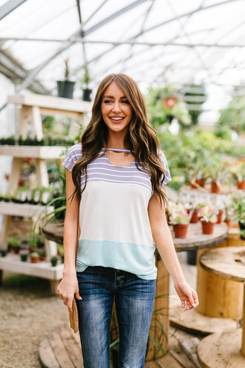 Sherbet Color Block Top In Sky Blue & Lilac
