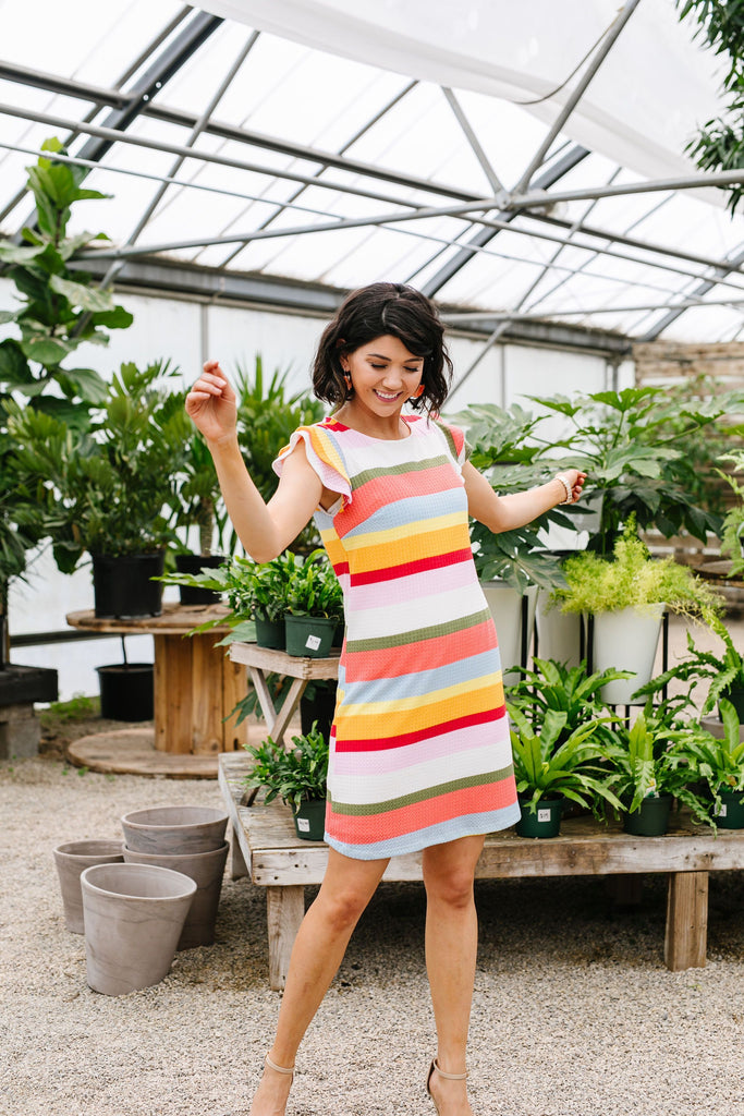 Summer Stripes Waffle Knit Dress - Everest & Co.