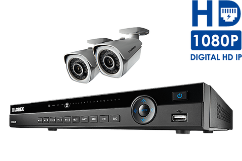 Lorex IP camera system with 1080p HD security cameras and an 8-channel NVR Includes 2 Cameras