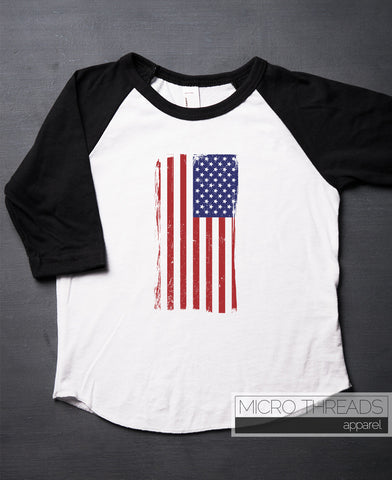 American Flag T-Shirt - Kids and Baby T-Shirt - Independence Day - July 4th - Toddler Shirt - Raglan