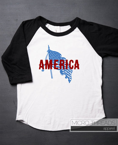 July 4th Vintage American Flag Kids T-Shirt - July 4th Toddler Raglan Shirt