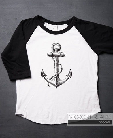 Ship Anchor Nautical Kids and Baby Raglan Style Baseball T-Shirt