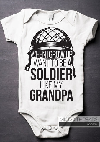 Grandfather Soldier Baby Bodysuit Gift - One-piece Romper