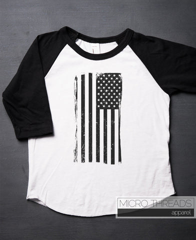 American Flag T-Shirt Kids and Baby T-Shirt - Black Ink ONLY -  Independence Day Raglan Kids Shirt