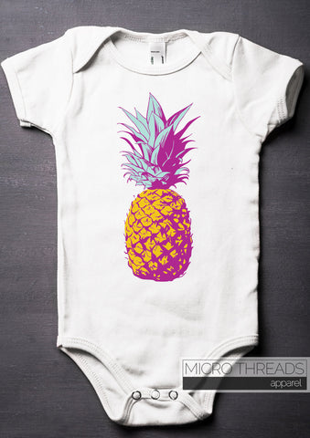 80s Fashion Pineapple Baby Bodysuit, Retro Summer Baby Shower Gifts, Romper Unique ONESIES® Brand