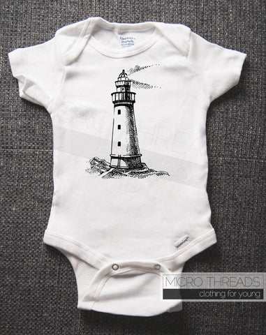Lighthouse - Nautical Baby Bodysuit - Baby Shower Gift