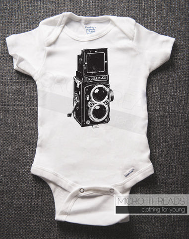 Vintage Camera - Twin Lens - Baby One-piece Bodysuit
