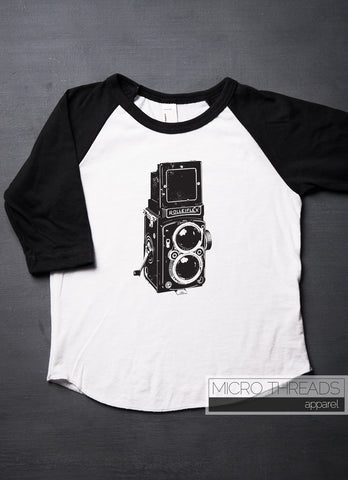 Vintage Camera T-Shirt for Kids and Babies - Vingtage Twin Lens Box Camera - Toddler Shirt - Raglan