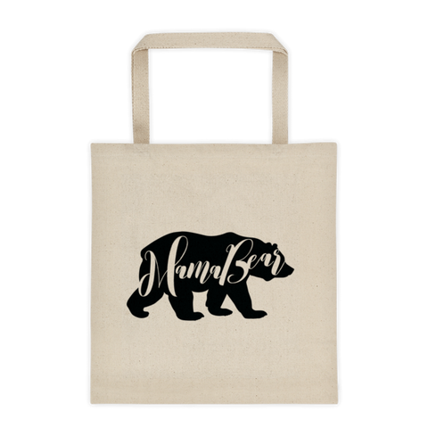 Mama Bear Canvas Tote Bag - Reusable Shopping Bag