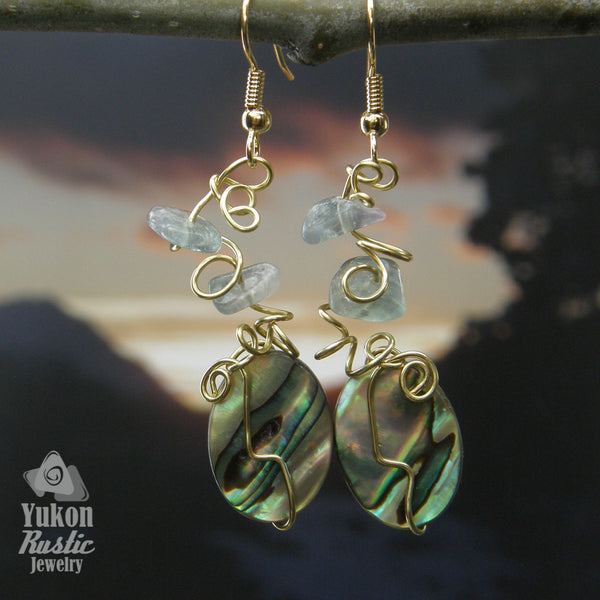 Abalone Shell Earrings with Fluorite Chips (gold wire)
