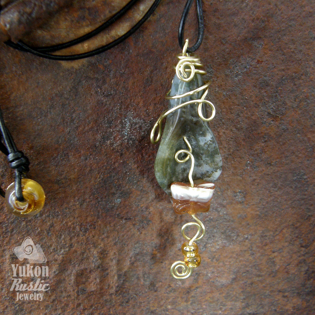 Light Green Moss Agate Petal Necklace (butterfly charm and beads - gold wire)