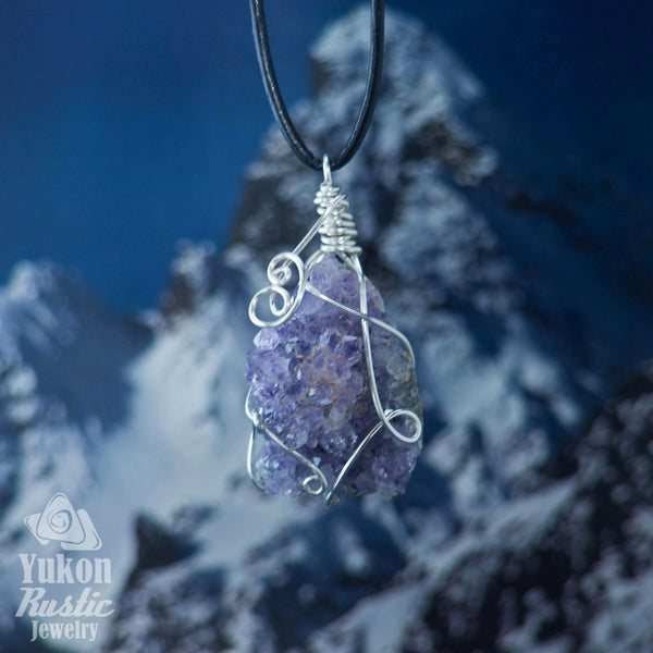 Amethyst Cluster Pendant (silver wire)