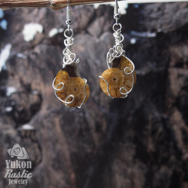Ammonite Fossil Earrings (silver wire)