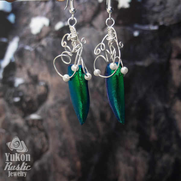 Beetle Wing Earrings (silver wire)