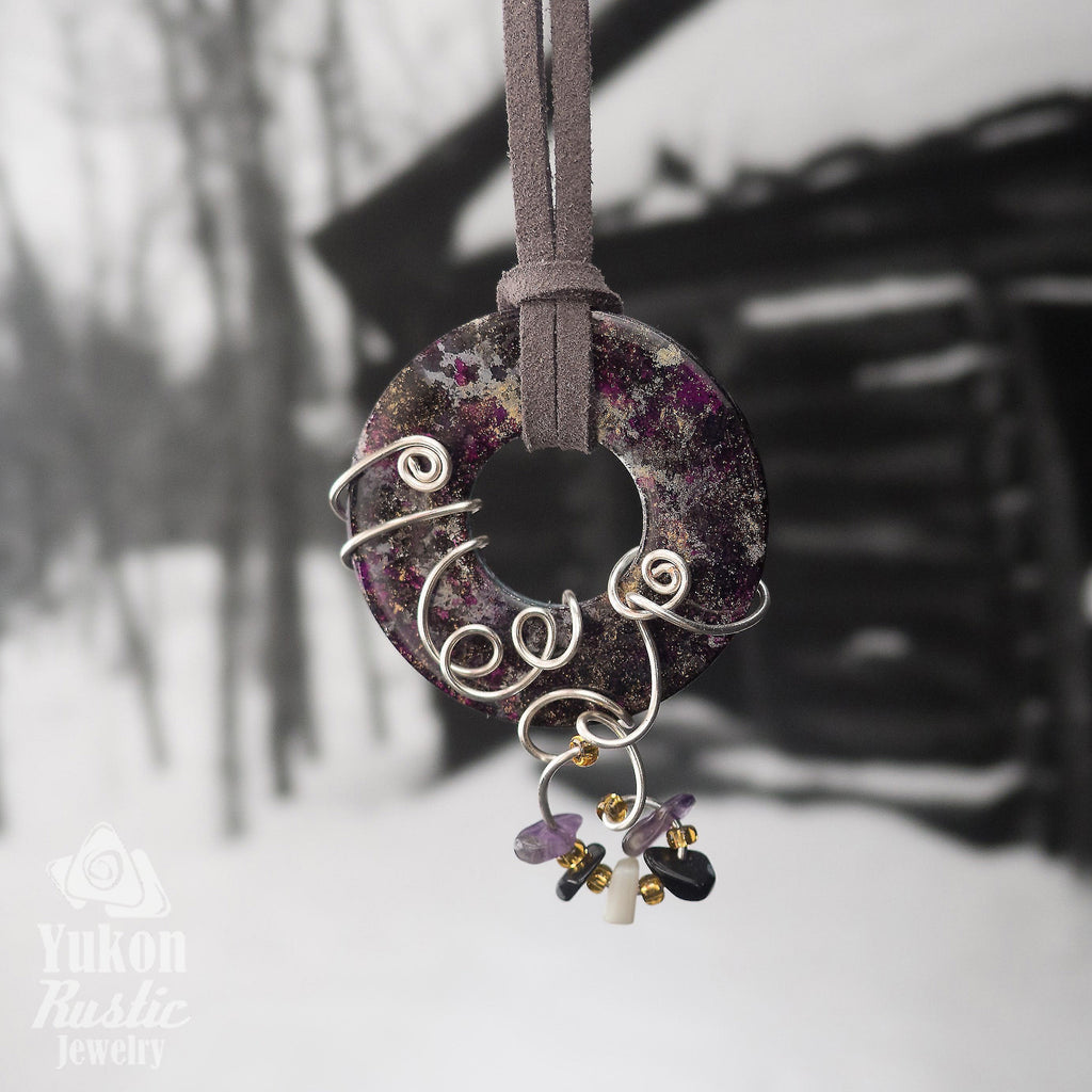 Black and Purple Washer Pendant accented with Beads