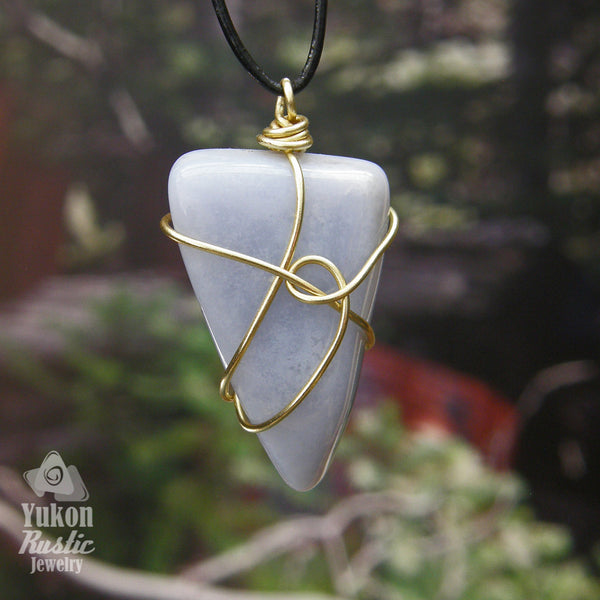 Blue Chalcedony Pendant (gold wire) revers