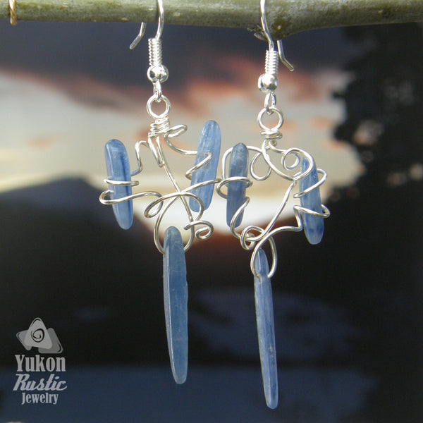 Blue Kyanite Stone Cut Earrings (silver wire)