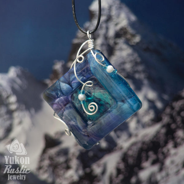 3D Turquoise and Purple Resin Pendant