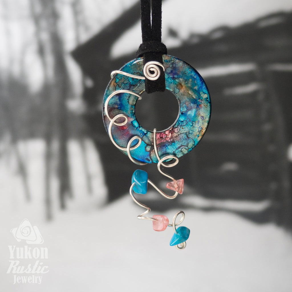 Turquoise and Pink Washer Pendant accented with Beads.