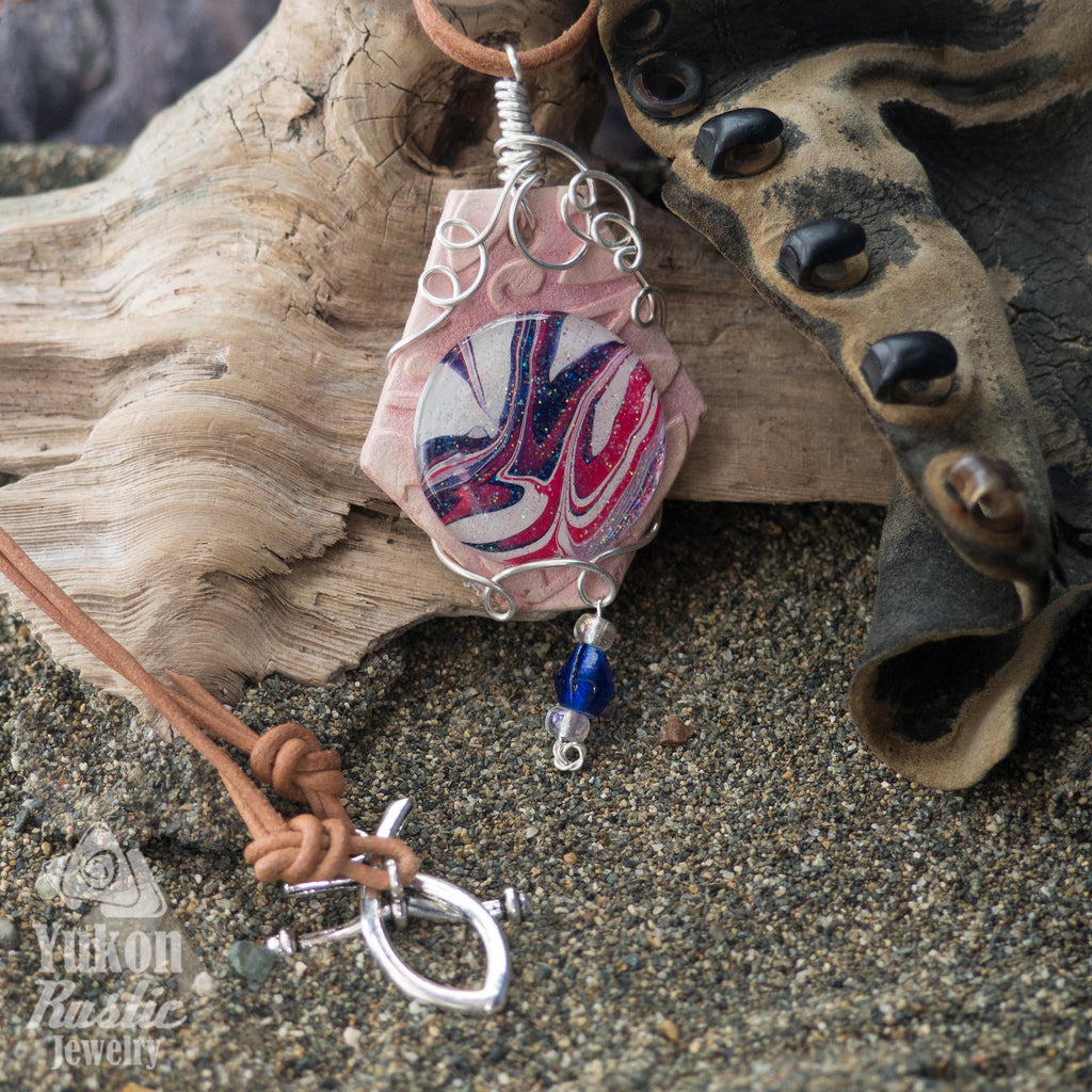 Shimmering Blue and Pink Marble/Clay Pendant