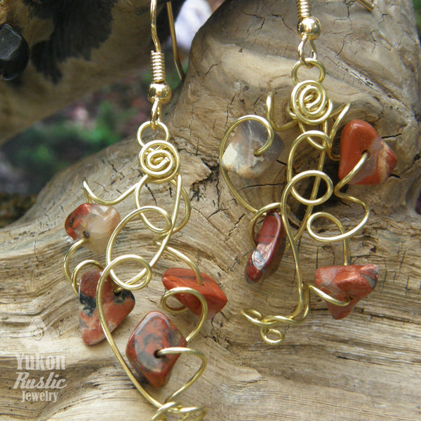 Breciated Jasper Stone Chip Earrings (gold wire)