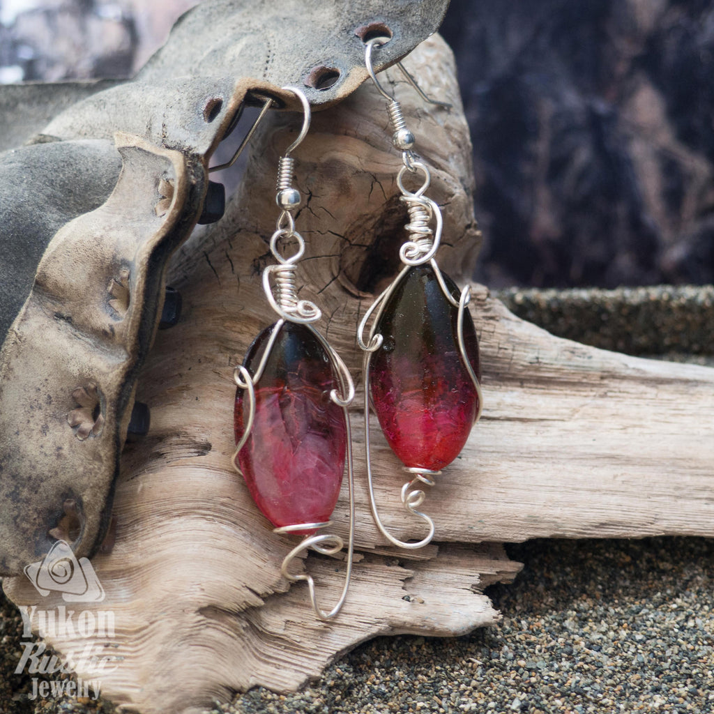 Pink and Brown Resin Earrings