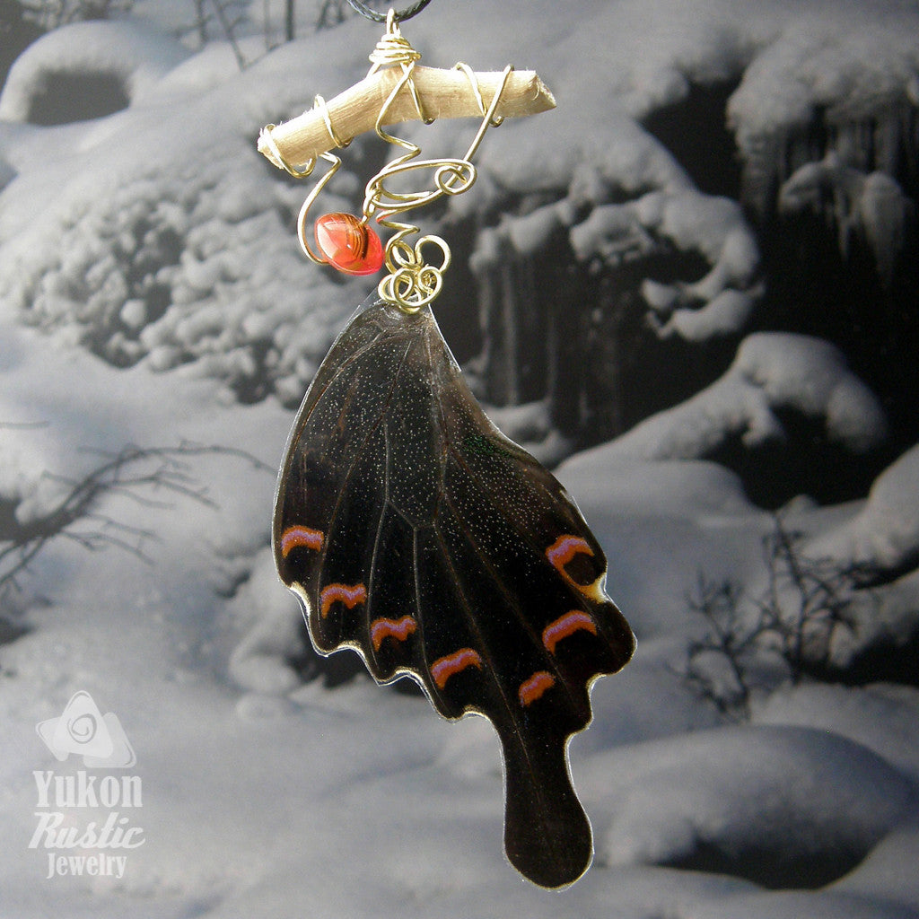 Butterfly Wing Necklace 1 (black/dark brown with pink/orange markings and tail)