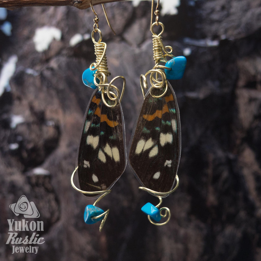 Butterfly Wing Earrings with Howlite Gemstone Chips (blue and orange)