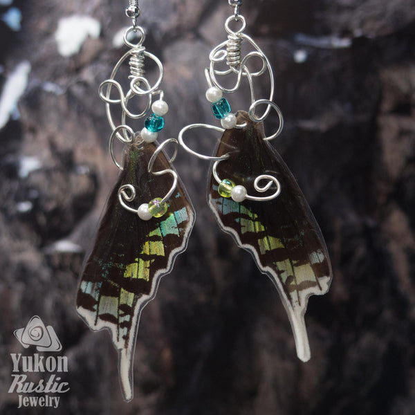 Butterfly Wing Earrings with Glass Beads  (silver wire)