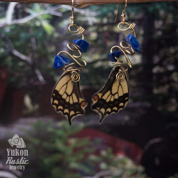 Butterfly Wing Earrings with Sodalite Gemstone Chips (gold wire)