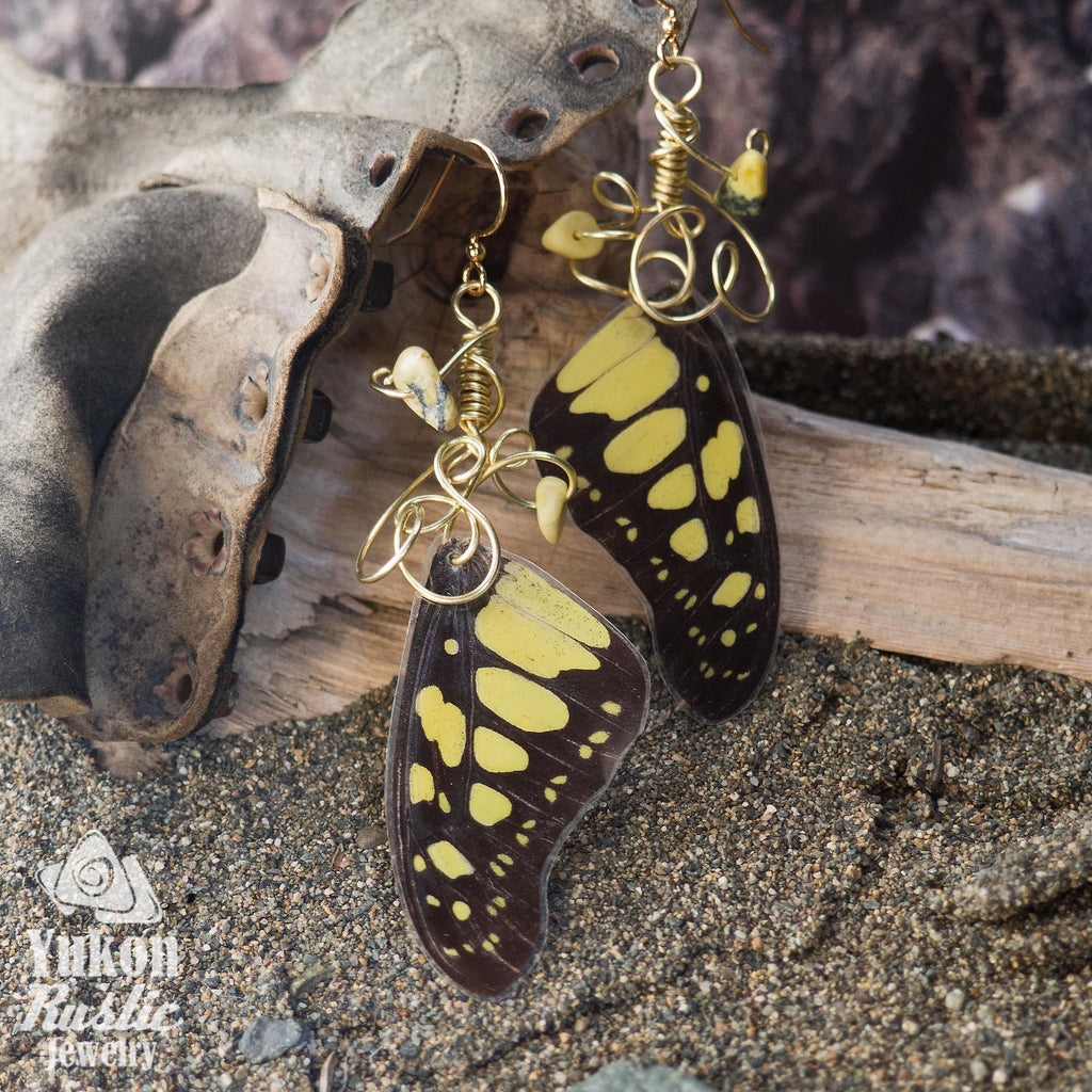 Butterfly Wing Earrings with Gemstone Chips (yellow and black)