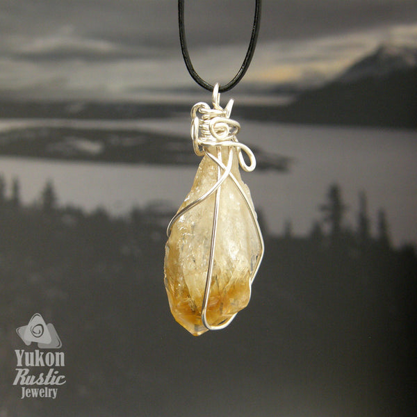 Crystals necklaces yukon rustic jewelry citrine crystal pendant silver wire aloadofball Choice Image